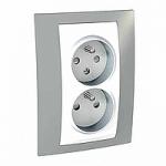 Complete Socket-outlet CZ, double, 2P+E, White/Mist grey