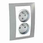 Complete Socket-outlet CZ, double, 2P+E, with shutters, White/Mist grey