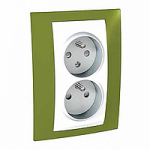 Complete Socket-outlet CZ, double, 2P+E, with shutters, White/Pistachio