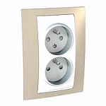 Complete Socket-outlet CZ, double, 2P+E, with shutters, White/Sand