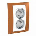 Complete Socket-outlet CZ, double, 2P+E, White/Orange