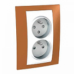 Complete Socket-outlet CZ, double, 2P+E, with shutters, White/Orange