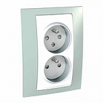 Complete Socket-outlet CZ, double, 2P+E, with shutters, White/Water green