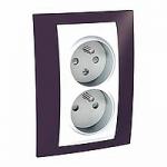 Complete Socket-outlet CZ, double, 2P+E, White/Garnet
