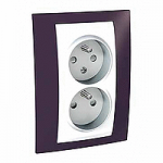 Complete Socket-outlet CZ, double, 2P+E, with shutters, White/Garnet