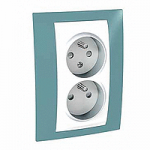 Complete Socket-outlet CZ, double, 2P+E, with shutters, White/Maganese blue