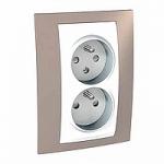 Complete Socket-outlet CZ, double, 2P+E, White/Mink