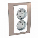 Complete Socket-outlet CZ, double, 2P+E, with shutters, White/Mink