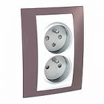 Complete Socket-outlet CZ, double, 2P+E, White/Mauve