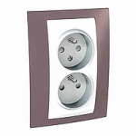 Complete Socket-outlet CZ, double, 2P+E, with shutters, White/Mauve