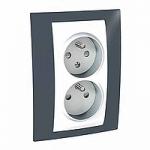 Complete Socket-outlet CZ, double, 2P+E, White/Slate
