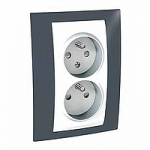 Complete Socket-outlet CZ, double, 2P+E, with shutters, White/Slate grey