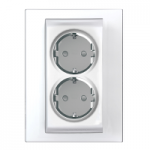 Complete Socket-outlet, side-earth, double, 2P+E, White
