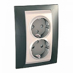 Complete Socket-outlet, side-earth, double, 2P+E, with shutters, Ivory/Champagne