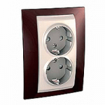 Complete Socket-outlet, side-earth, double, 2P+E, Ivory/Terracotta