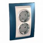 Complete Socket-outlet, side-earth, double, 2P+E, Ivory/Glacier blue