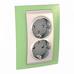 Complete Socket-outlet, side-earth, double, 2P+E, Ivory/Apple green
