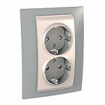 Complete Socket-outlet, side-earth, double, 2P+E, Ivory/Mist grey