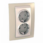 Complete Socket-outlet, side-earth, double, 2P+E, with shutters, Ivory/Sand