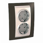 Complete Socket-outlet, side-earth, double, 2P+E, Ivory/Cacao