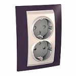 Complete Socket-outlet, side-earth, double, 2P+E, Ivory/Garnet
