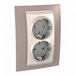 Complete Socket-outlet, side-earth, double, 2P+E, Ivory/Mink