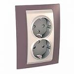 Complete Socket-outlet, side-earth, double, 2P+E, Ivory/Mauve