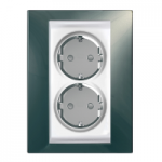 Complete Socket-outlet, side-earth, double, 2P+E, White/Champagne