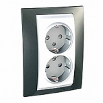 Complete Socket-outlet, side-earth, double, 2P+E, with shutters, White/Champagne