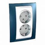 Complete Socket-outlet, side-earth, double, 2P+E, White/Glacier blue