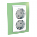 Complete Socket-outlet, side-earth, double, 2P+E, White/Apple green