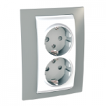 Complete Socket-outlet, side-earth, double, 2P+E, White/Mist grey