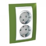 Complete Socket-outlet, side-earth, double, 2P+E, White/Pistachio