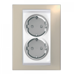 Complete Socket-outlet, side-earth, double, 2P+E, White/Sand