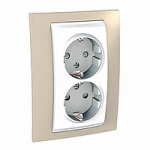 Complete Socket-outlet, side-earth, double, 2P+E, with shutters, White/Sand