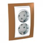Complete Socket-outlet, side-earth, double, 2P+E, White/Orange