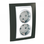 Complete Socket-outlet, side-earth, double, 2P+E, White/Cacao