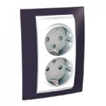 Complete Socket-outlet, side-earth, double, 2P+E, White/Garnet