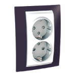 Complete Socket-outlet, side-earth, double, 2P+E, with shutters, White/Garnet