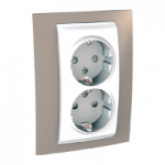 Complete Socket-outlet, side-earth, double, 2P+E, White/Mink