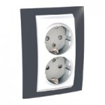 Complete Socket-outlet, side-earth, double, 2P+E, White/Slate grey