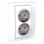 Complete Socket-outlet, PO/FR, double, 2P+E, White
