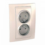 Complete Socket-outlet, PO/FR, double, 2P+E, Ivory