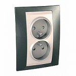 Complete Socket-outlet, PO/FR, double, 2P+E, Ivory/Champagne