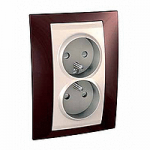 Complete Socket-outlet, PO/FR, double, 2P+E, Ivory/Terracotta
