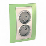 Complete Socket-outlet, PO/FR, double, 2P+E, Ivory/Apple green