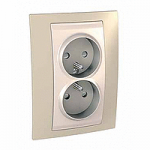 Complete Socket-outlet, PO/FR, double, 2P+E, Ivory/Sand