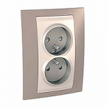 Complete Socket-outlet, PO/FR, double, 2P+E, Ivory/Mink