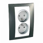 Complete Socket-outlet, PO/FR, double, 2P+E, White/Champagne