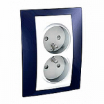 Complete Socket-outlet, PO/FR, double, 2P+E, White/Indigo blue